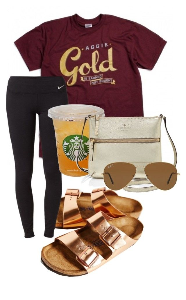 """aggie gold"" by sofiaestrada ❤ liked on Polyvore featuring Birkenstock, NIKE, Kate Spade and Ray-Ban"