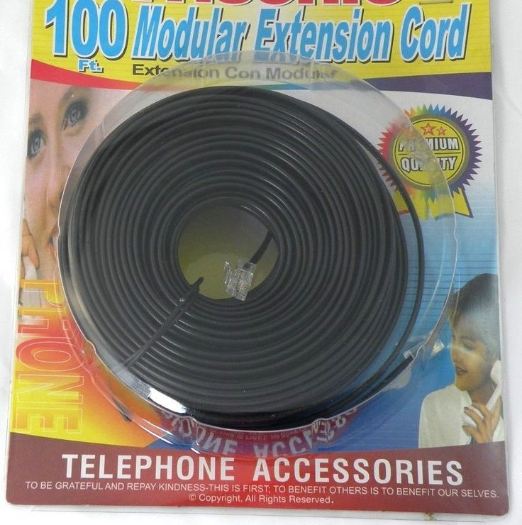 100 FT TELEPHONE EXTENSION CORD CABLE LINE WIRE BLACK RJ11 MODULAR - NEW #TRISONIC