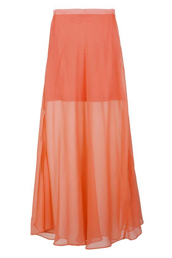 Falda larga gasa color coral