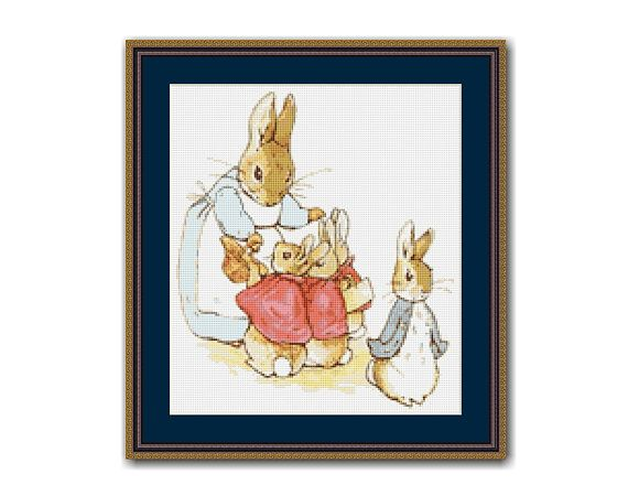 "The Tale of Peter Rabbit #2 Cross Stitch Chart / Pattern, ""Now My Dears"", Beatrix Potter Instant Download, Mopsy, Flopsy, Cottontail(TPR002)"