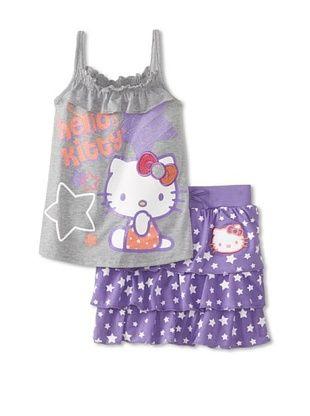 66% OFF Hello Kitty Girl's Ruffle Tank & Skirt Set (Dahlia Purple)