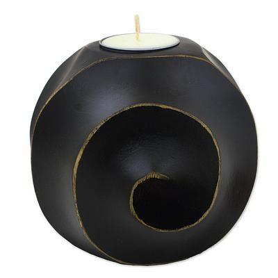 Wood tealight candleholder, 'Asian Moon in Black' - Black Snail Moon Tealight Candleholder from Thailand