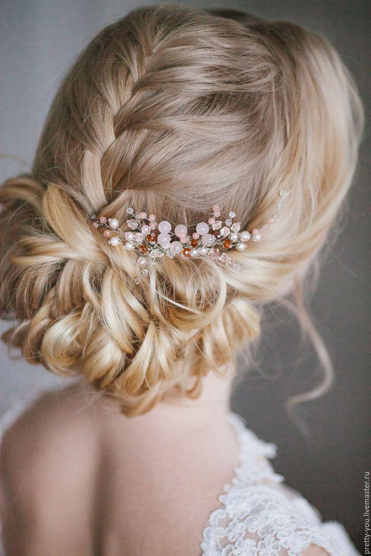 Купить Гребень свадебный Pretty You! Украшение свадебное для прически - бледно-розовый, гребень