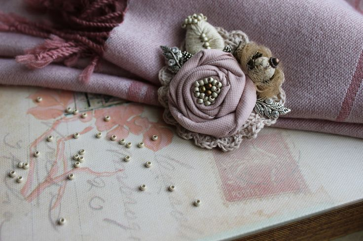 Hand crafted brooch , linen , textiles ,crochet brooch, handmade gift.  Scarf, dress accessory. by BeautyMK on Etsy