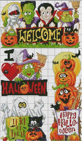 Fun Halloween cross stitch patterns. #Halloween #cross_stitch #patterns