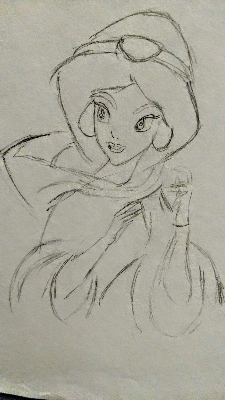 Princess Jasmine - Free Hand Sketch By: Anima Armah