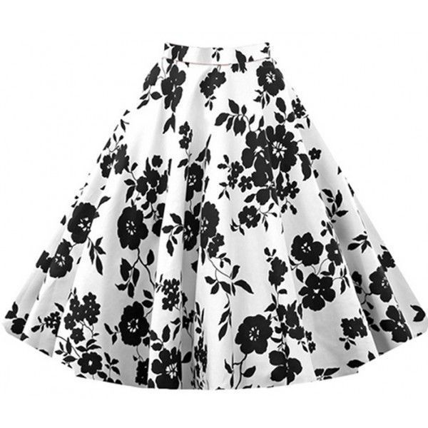 Falda blanca con estampado de rosas negras