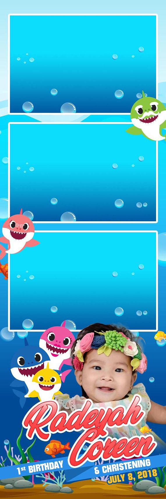 2x6 strip baby shark family photoshop photo booth template