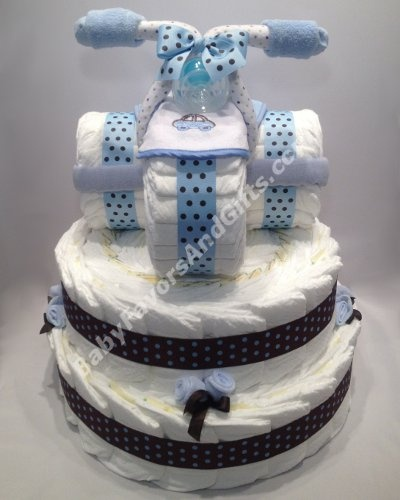 Tricycle Diaper Cake for boys, Baby shower gift ideas http://babyfavorsandgifts.com/advanced_search_result.php?keywords=tricycle=0=0