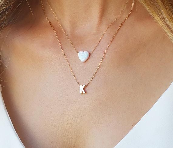 Layering necklace set Initial necklace Opal heart by HLcollection