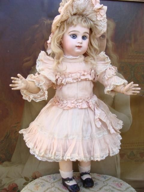 Wonderful antique Paris Bebe with large blue eyes. from a-sunday-in-the-attic on Ruby Lane
