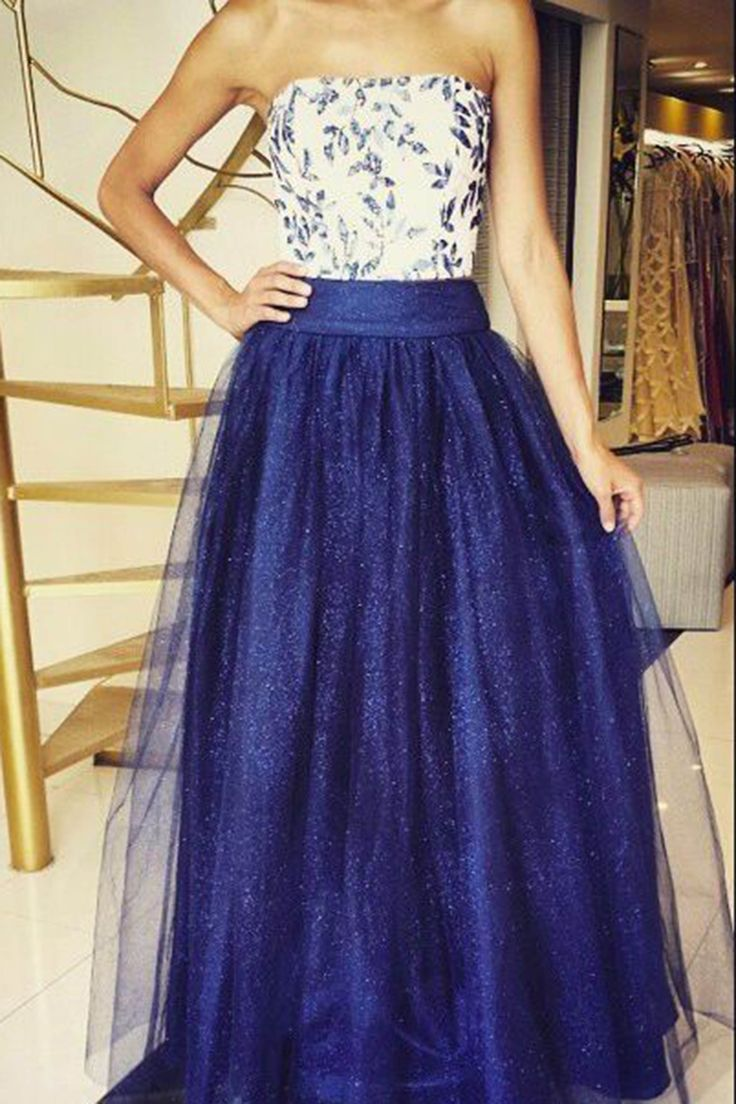 Prom dresses ball gown, sparkly navy blue tulle long evening dress for prom 2017