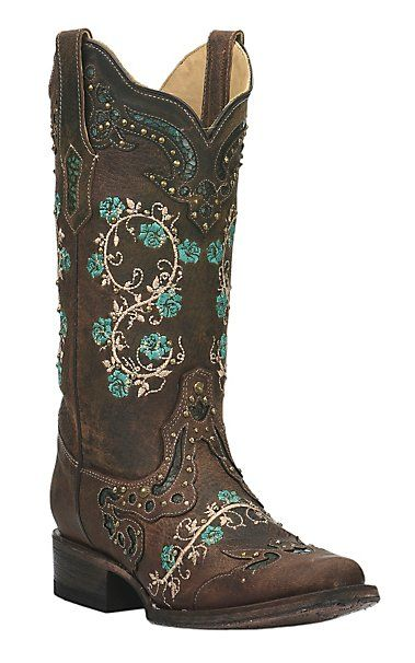 Corral Women's Brown with Turquoise and Cream Embroidery and Gold Studs Square Toe Western Boots