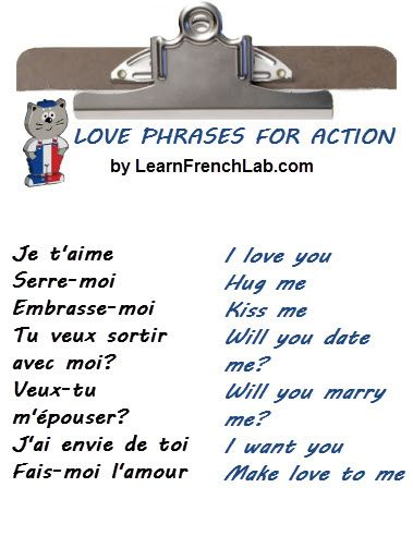 Learn Romantic and French Love Phrases for dating & more with Audio clips. Listen to these expressions and whisper them in the ears of your sweetie.