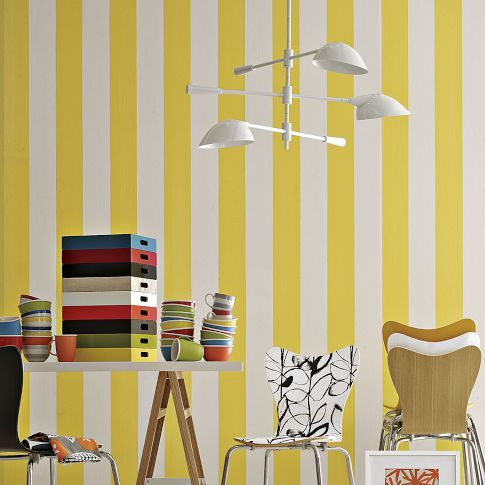 Yellow and white stripe walls