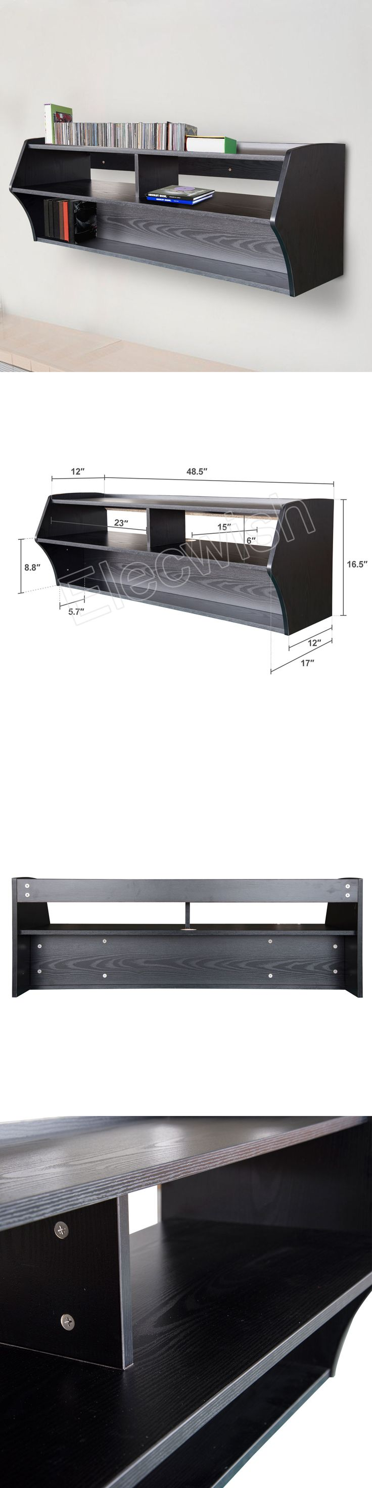 Entertainment Units TV Stands: Wall Mount Tv Stand Floating Shelf Media Console Entertainment Center Cd Black -> BUY IT NOW ONLY: $78.99 on eBay!