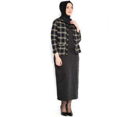 Emma Ceket ElbiseTakim - Vizon Siyah - Melisita