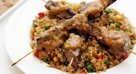 Beef Satay with Brown Rice - weightloss.com.au