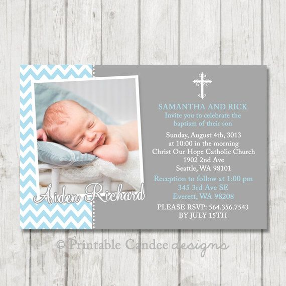 Blue and Grey Baptism Invitation - Chevron Baptism Invitation - Boy Christening…
