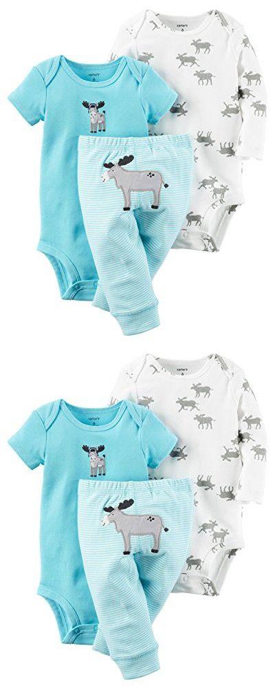 Carter's Baby Boys' 3 Piece Take Me Away Set, Light Blue Moose 6 Months