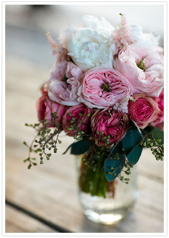 Peonies, roses, Kabuki Astilbe, and seeded eucalyptus arrangement