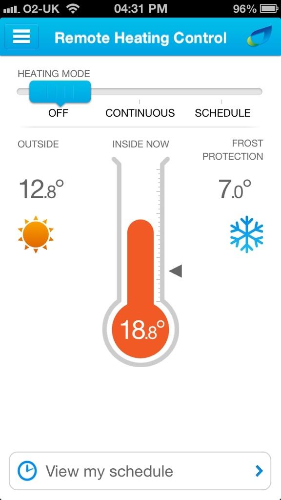 British Gas remote heating control app