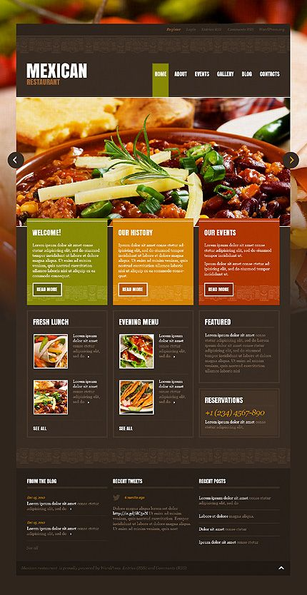 Mexican Restaurant - by the same developer as Japanese Restaraunt - a lot of repins. However I've tested it. It is coded in a way that makes converting it to a responsive design quite tedious - http://www.templatemonster.com/demo/43196.html