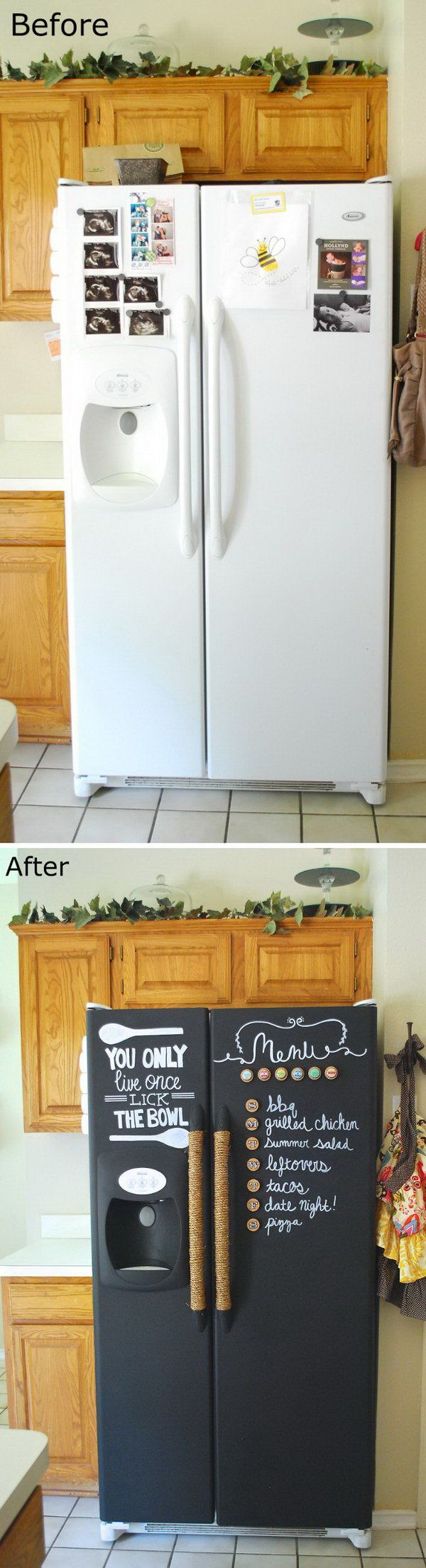DIY Chalkboard Paint Refrigerator.                              …                                                                                                                                                                                 More