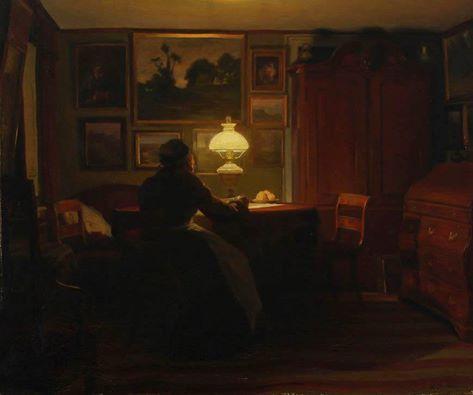 Karl Jensen (Danese, 1851-1933) - Interno con una donna che legge con la lampada, 1905