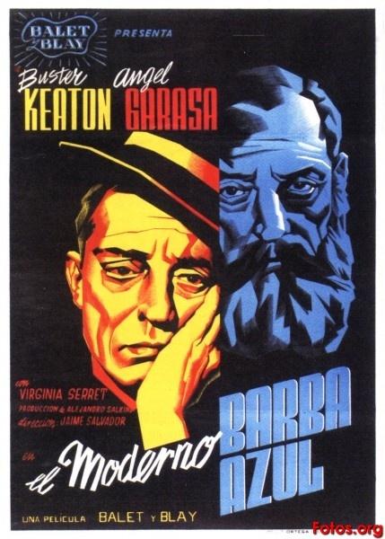"MP296. ""El Moderno Barba Azul"" Mexican Movie Poster by Josep Renau (Jaime Salvador 1946) / #Movieposter"