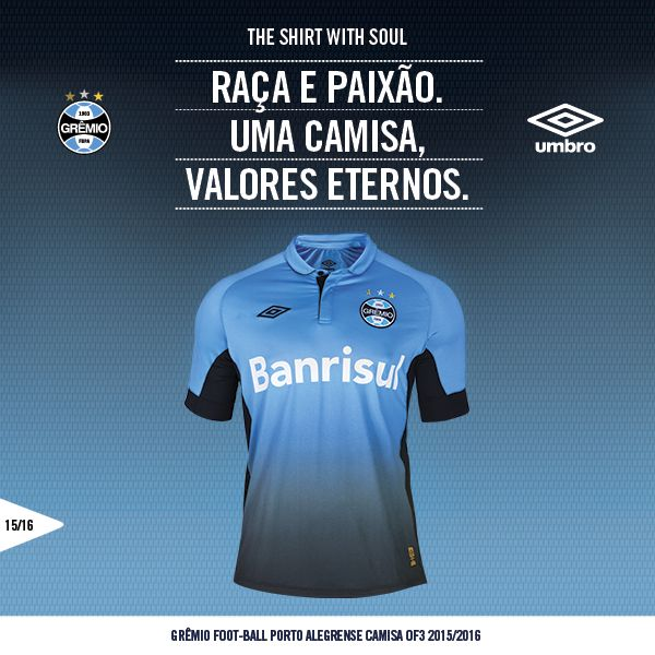 Umbro apresenta a nova camisa do Grêmio - http://colecaodecamisas.com/umbro-nova-camisa-gremio-2015/ #colecaodecamisas #Brasileirao2015, #Umbro