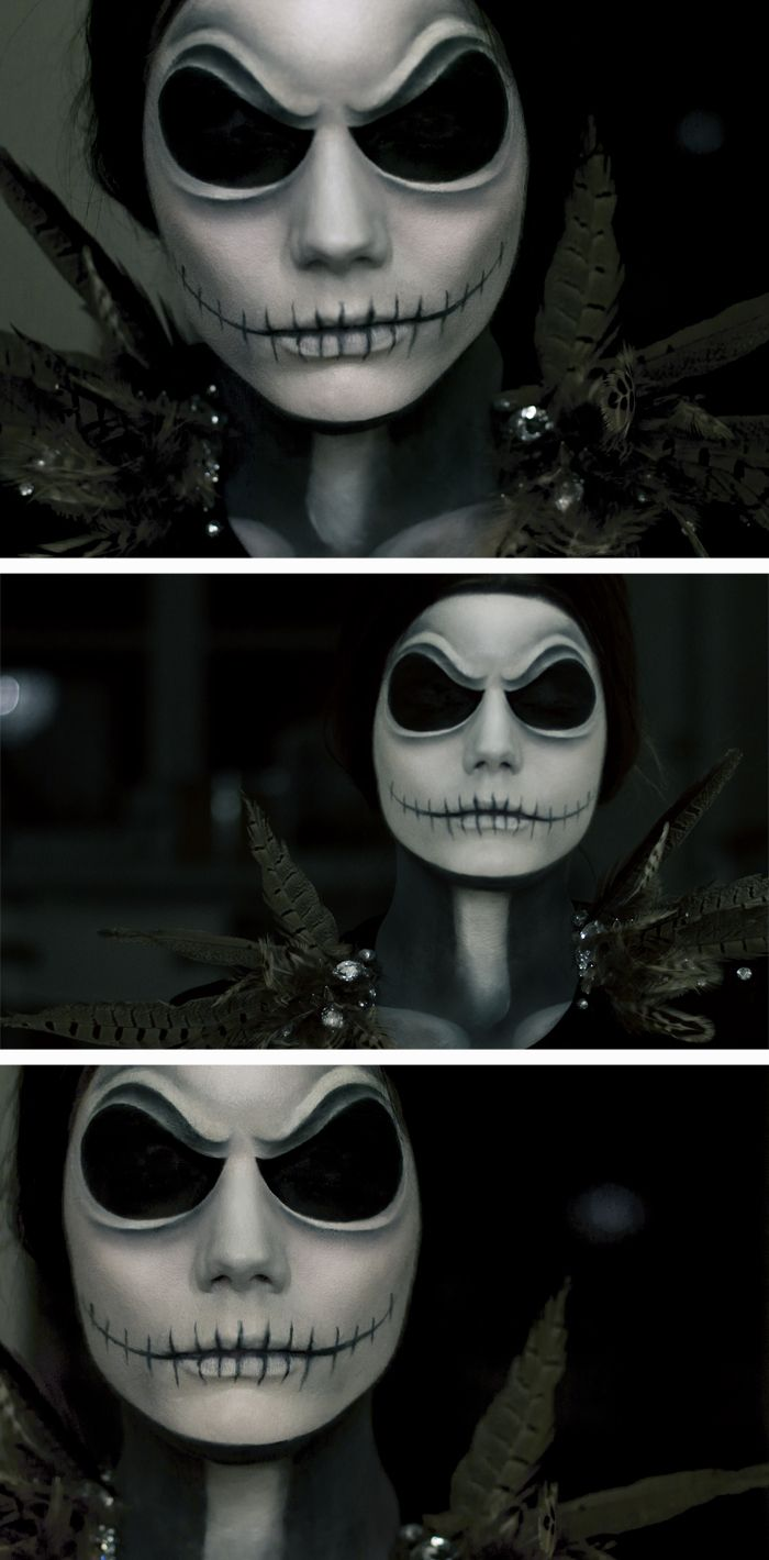 Linda Hallberg Halloween make-up as jack Skellington from a Nightmare before Christmas. Absolutely f* awesome
