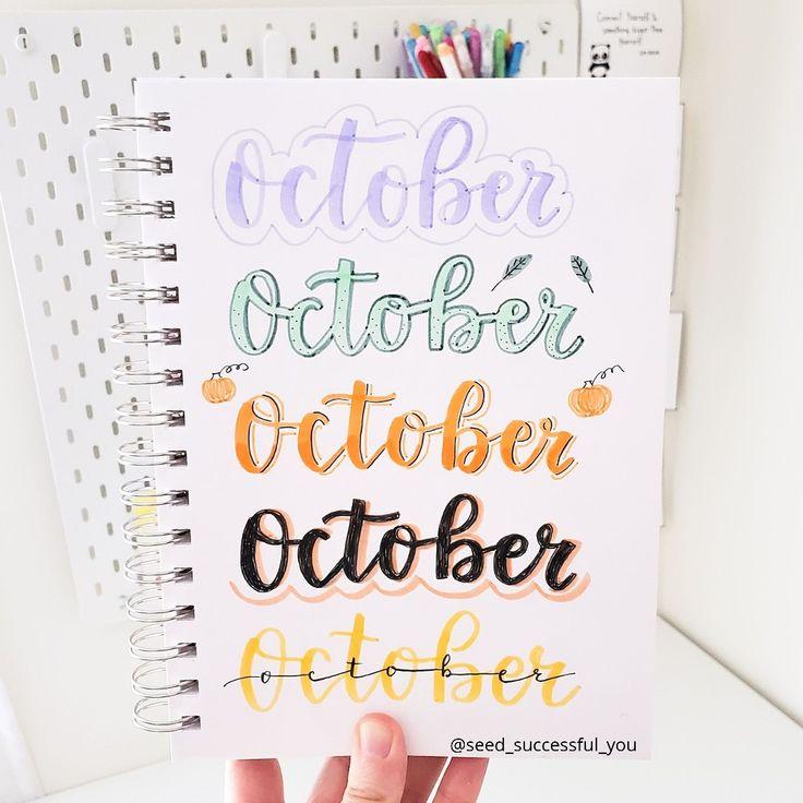 October Bullet Journal header ideas. 🍂🍁🌻