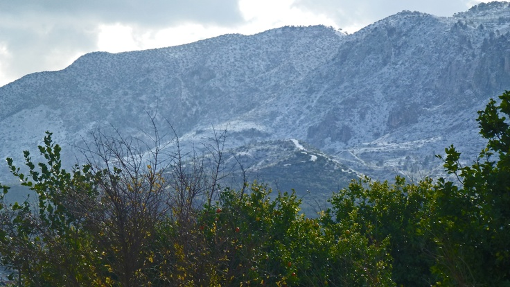 Snow on the Bes Parmak mountain range, Kyrenia, North Cyprus.  Snow falls occasionally in winter but seldom lasts long, as it melts as soon as the sun is on it. This year it unusually lasted a couple of days, but no snow on the coast itself.