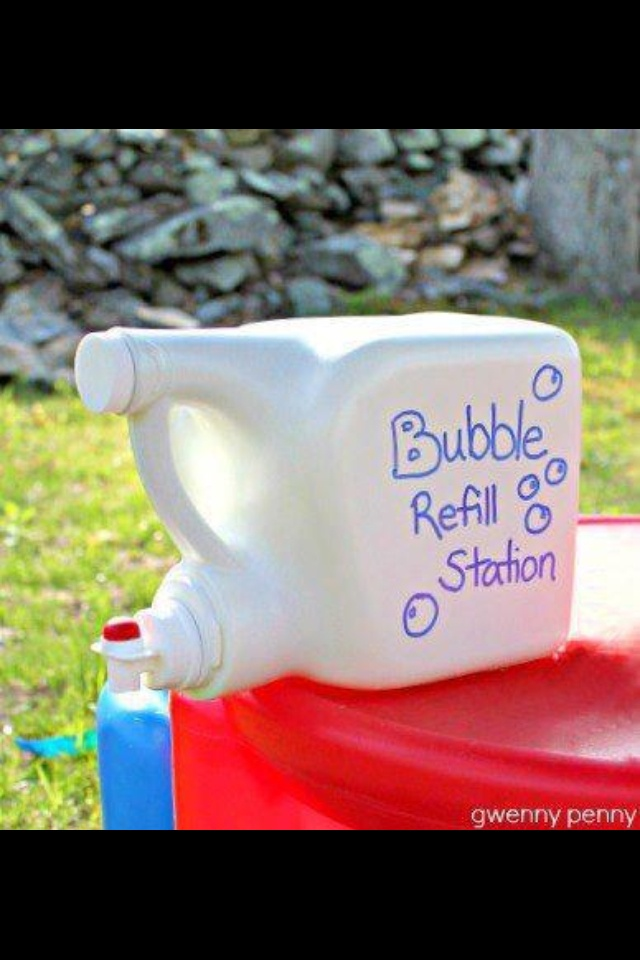 Great idea!! Look what I found!!  BUBBLE REFILL STATION I thought this was a fantastic idea, reuse an empty laundry detergent container...rinse it out several times, removed the labels, used a Sharpie to decorate it, and filled the container with bubble soap. Easy sneezy!!! The kids will love having it right outside to quickly refill their bubble guns when they run out of soap. Great summer idea! For more great fun ideas join me https://www.facebook.com/groups/cynshealthandmotivation