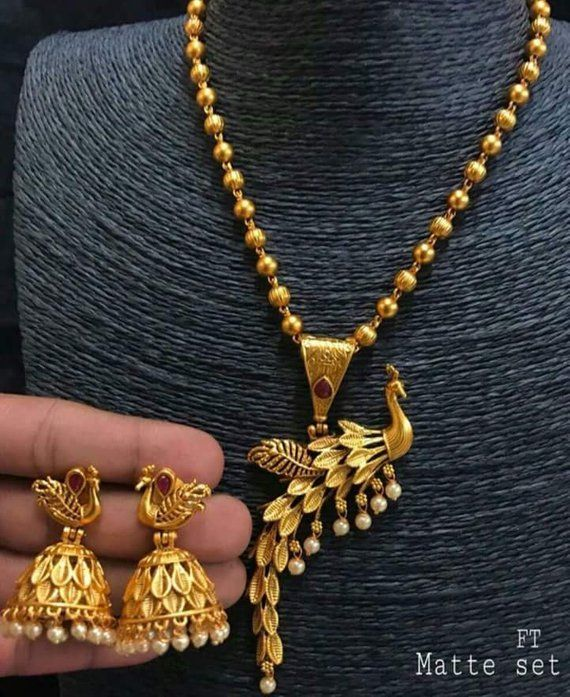Indian Women Necklace Pendent with Set With Chain Combo Set Gold Plated Jewelry