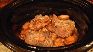 Crockpot Pork Chops with butternut squash, apples and sweet potatoes