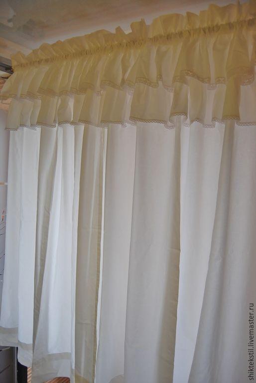 Текстиль, ковры ручной работы. Ярмарка Мастеров - ручная работа. Купить Шторы в стиле шебби шик молочные с хлопковым кружевом. Handmade.