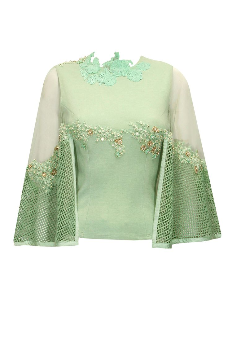 Mint green floral embroidered cape top by Ridhima Bhasin. Shop now: http://www.perniaspopupshop.com/designers/ridhima-bhasin #ridhimabhasin #shopnow #cape #perniaspopupshop