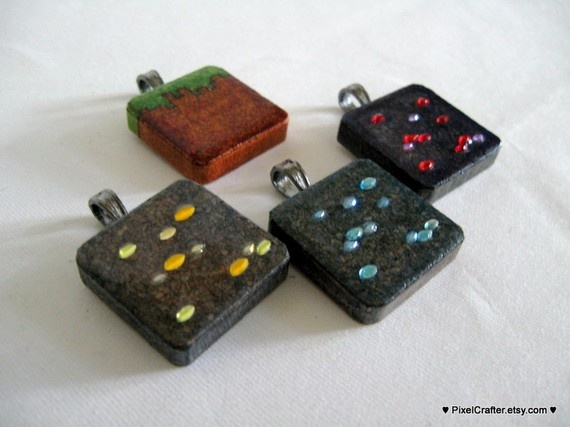 minecraft charms. Recreate using scrabble pieces. 