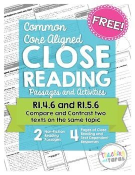 This FREEBIE includes TWO original 4th/5th grade leveled reading passages and close reading activities perfectly aligned to Common Core Standards RI.4.6 and RI.5.6 (Compare and contrast the point of view from which different stories are narrated).This is a sample from my much larger and comprehensive products with FIFTY original passages and close reading activities perfectly aligned to the Common Core Standards.