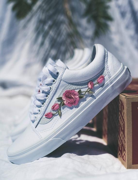 Vans Old Skool Custom White-rosa rose patch-tutte le Taglie-unisex ...