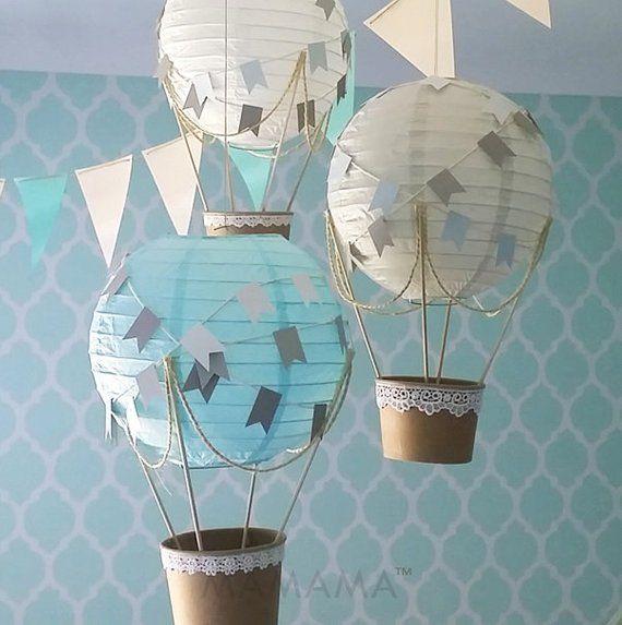 Hot air balloon decoration DIY kit BLUE GREY & white, hot air balloon decorations, travel theme nursery, travel theme decoration - set of 3
