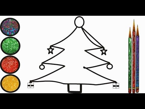 Glitter Christmas Tree Learning Colors Art Toy Coloring For Kids
