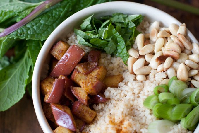 CURRIED APPLE COUSCOUS (butter, green onions, pine nuts, mint)