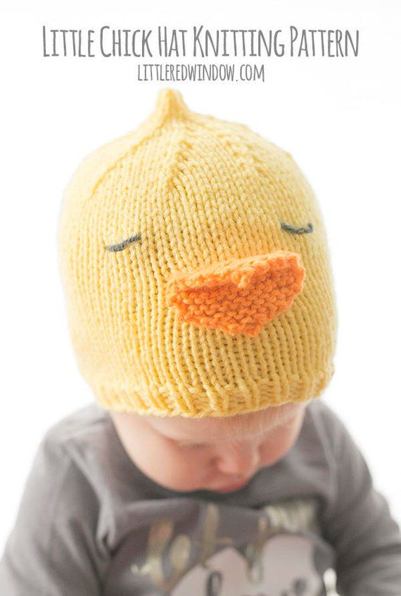Baby Chick Hat KNITTING PATTERN   Baby Chicken Hat   Easter Chick ... 4cfd1b5c9fd