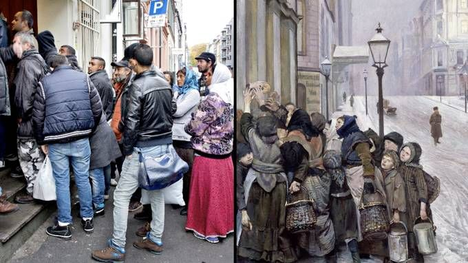 Oslo 2013 and Oslo 1888. The Struggle for Existence (Kampen for tilværelsen), by Christian Krogh. The composition and the subject-matter seems worryingly equal in these two pictures with 125 years between them.
