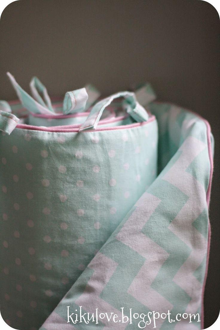 pinky mint crib bumper