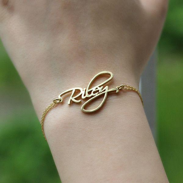 Custom Name Bracelet, Sterling Silver Name Bracelet, Custom Font Name... (44 NZD) ❤ liked on Polyvore featuring jewelry, bracelets, sterling silver jewelry, sterling silver bangles and sterling silver jewellery