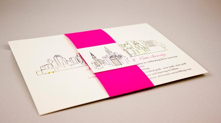 Modern NYC Skyline Bellyband Invitation Suite. $4.00, via Etsy.